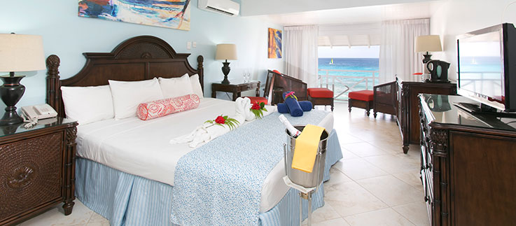 Bed with beach view