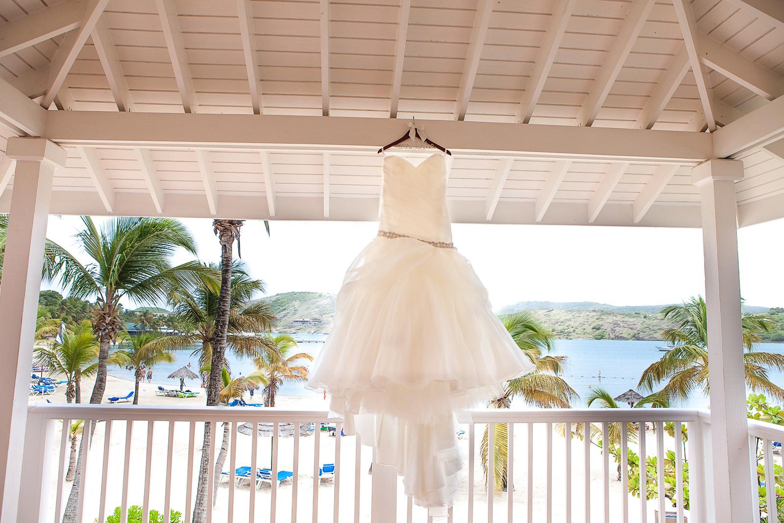 Wedding dress at St. James's Club & Villas, Antigua