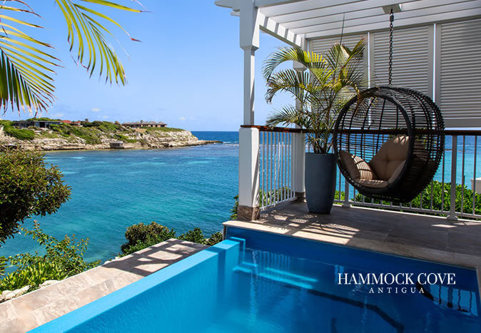 hammock cove antigua infinity pool balcony with beach and sea view